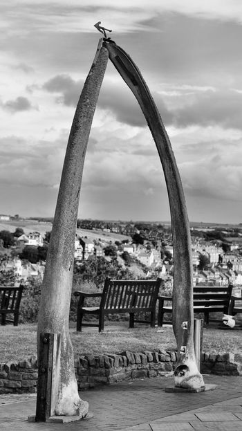 Built Structure Architecture Sky City Building Exterior Cloud - Sky Outdoors Sea Day Tall - High Tranquility Scenics Tranquil Scene No People Tourism Observation Point Jawbone Whale B&w Whitby