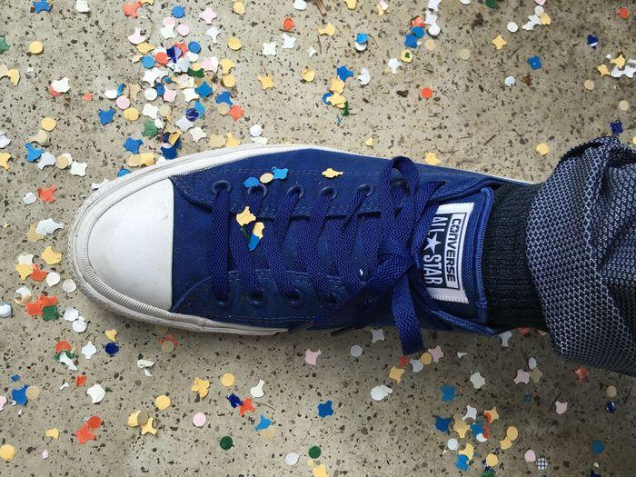 Blue And White Chucks Confetti Converse Footwear Ground High Angle View Konfetti Party