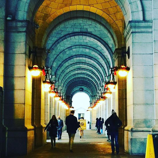Union Station Travel Destination Washington, D.C. Architecture Arch Illuminated Built Structure The Way Forward Real People Indoors  Architectural Column Large Group Of People Day People Mobility In Mega Cities