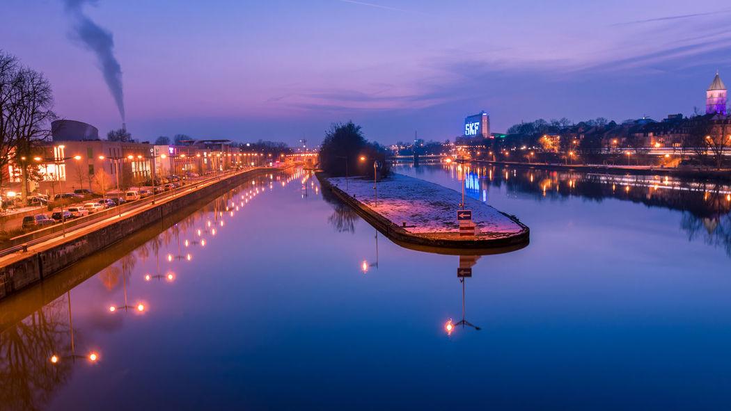 Abend Franken Spiegelung Main Night Reflection River Schweinfurt Water