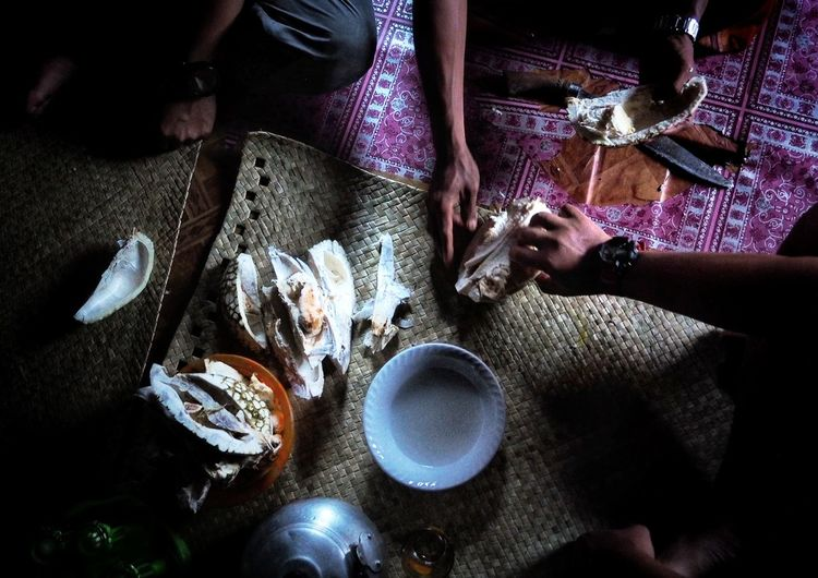 Enjoy Durian of Indonesia Fruit Human Hand Table High Angle View Close-up Food And Drink HUAWEI Photo Award: After Dark