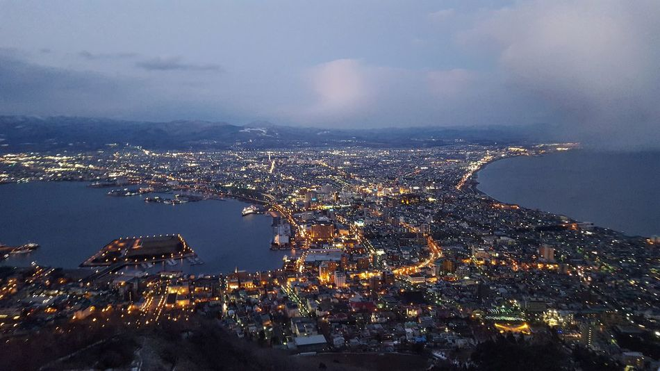 Hakodate Night Nightlife Night Lights View View From Above Japan Hakodate-shi Hokkaido Hokkaido Japan Sea Seaside Flying High