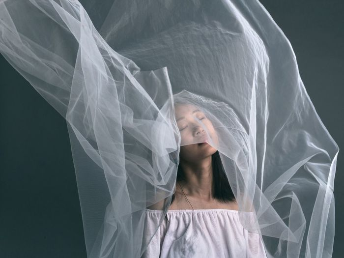 Woman in white veil