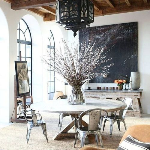 Happy Thanksgiving🍂 Fall Branches Table Dining Inspriation Thankful Interior Design Makeastatement Rustic Wood Whitewalls  image via Pinterest