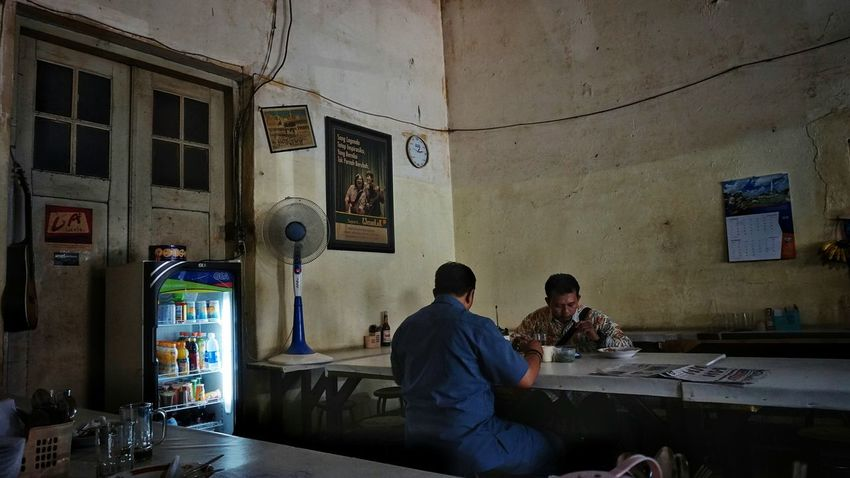 lunch. Lunch Documentary Documentary Photography Only Men Adults Only Indoors  Adult People Mid Adult Men Two People Sitting Real People Happy Hour Day