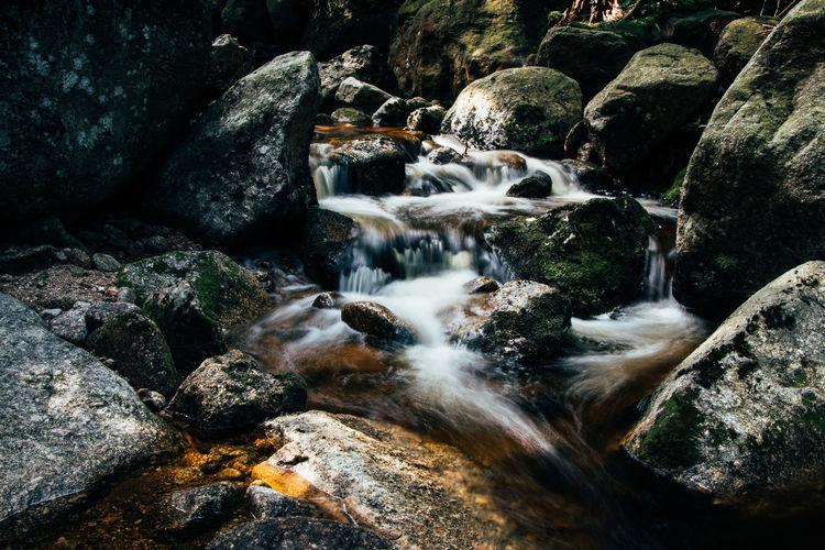 Stream flowing through rocks