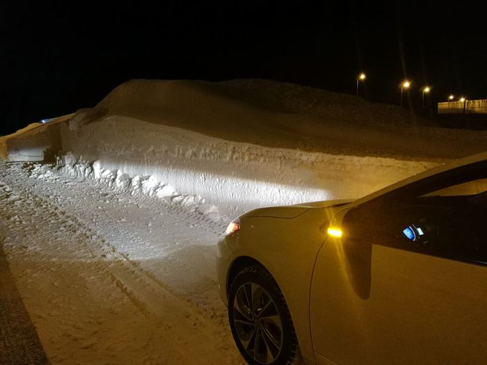 Still die in snow.... Car Driving Motion Night No People Outdoors Sky Snow ❄ Snowcapped Mountain Snowstreet Street Wet