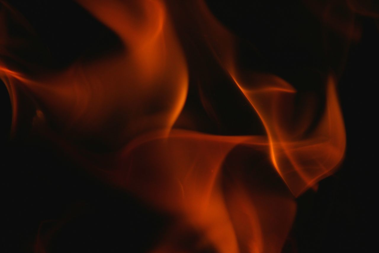 flame, burning, orange color, heat - temperature, close-up, night, no people, motion, outdoors, black background
