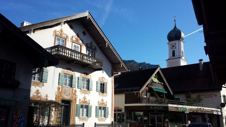 Schönau Am Königsee Holiday Vacations EyeEm Gallery Blue Sky Blue Tourism Streamzoofamily Bayern City Architecture Building Exterior Built Structure Low Angle View Day No People Sky Outdoors