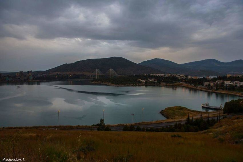 sunset in new bridge of Chalkis Sky Water Environment Nature Landscape Architecture Cloud - Sky