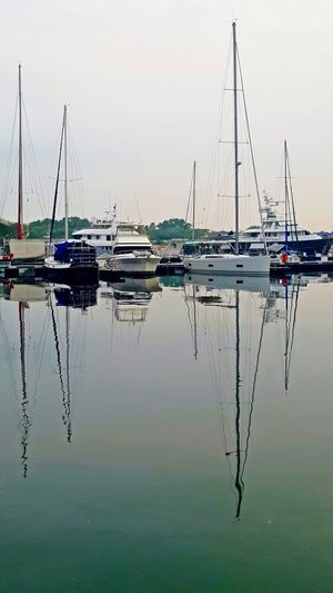 Leisure Boats at Puteri Harbour, Johor, Malaysia Leisure Boat Boats Nature Mode Of Transportation Water Transportation Nautical Vessel Reflection Sailboat Mast Beauty In Nature Tranquility Marina Yacht