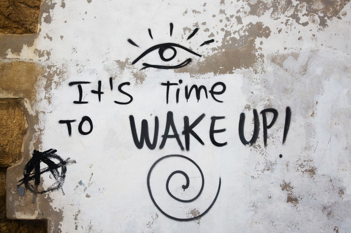 Graffiti Text Truth Architecture Awareness Backgrounds Built Structure Close-up Communication Day Fake News Graffiti Illusion Information Invitation Message No People Outdoors Text Wake Up Wall Wall - Building Feature Weathered Western Script White Color