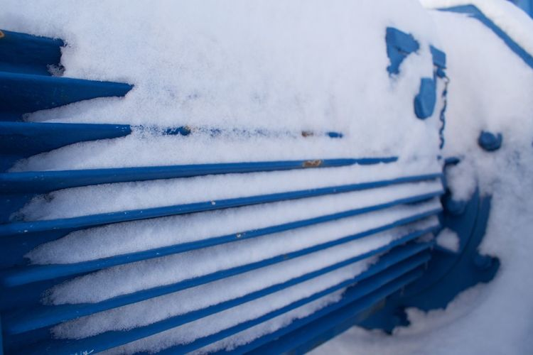 Machine Machinery Blue Close-up Cold Temperature Day Focus On Foreground Frozen High Angle View In A Row Machine Part Metal Nature No People Outdoors Pattern Selective Focus Snow Transportation White Color Winter
