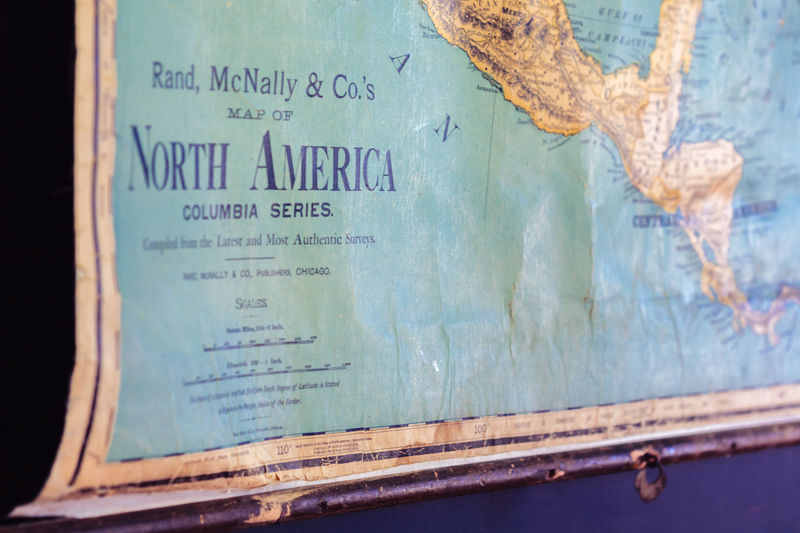 Antique Chalk Board Copy Space Focus On Foreground Map North America Old School Old-fashioned