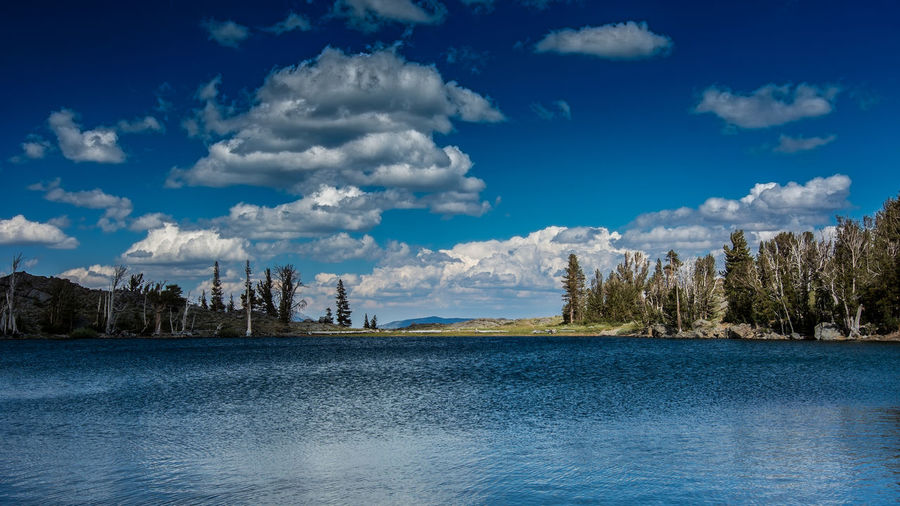 View of Frog Lake in the Sierra Nevada during the day in the summer of 2017, with rocks, the mountains and a few pine trees, and clouds in the background Cloud - Sky Sky Water Scenics - Nature Waterfront Beauty In Nature Tranquility Tranquil Scene Nature No People Day Blue Tree Non-urban Scene Idyllic Plant Sea Outdoors Frog Lake Sierra Nevada Frog Lake Landscape