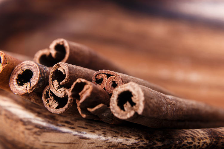 Close-up of cinnamon on table