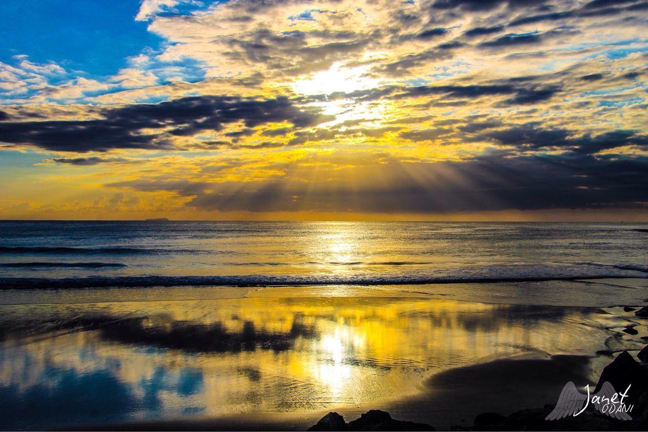 water, sky, sunset, beauty in nature, cloud - sky, scenics - nature, sea, reflection, tranquility, horizon over water, horizon, beach, tranquil scene, nature, land, sunlight, idyllic, outdoors, orange color