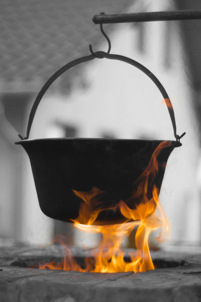 Burning Cauldron Cooking Fire Flame Heat Holiday Leisure Leisure Time Outdoor Cooking Vessel