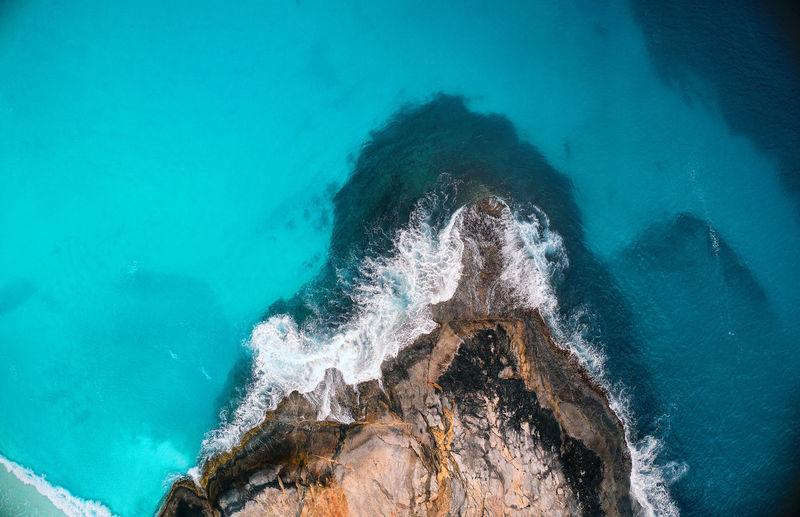 High angle view of water splashing in swimming pool