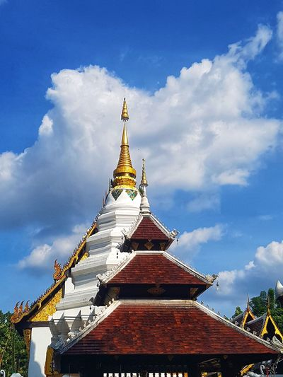 Low angle view of pagoda against sky
