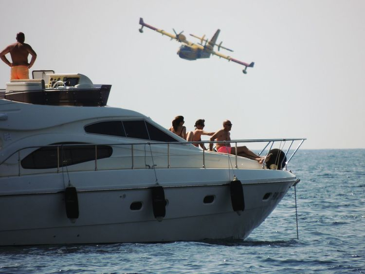 Be ready for your next adventure.On The Ocean Yacht Oceanwater Airplane Jet Plane And Sky Plane Over The Ocean People Watching People Enjoying Life Enjoying The Moment Photography In Motion Amazing View Traveling Croatia Telling Stories Differently Blue Wave My Favorite Photo Uniqueness ~part of todays society Be. Ready.