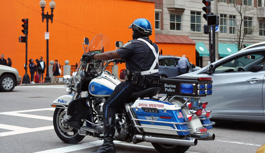 Boston USA Helmet Massachusetts Motorcycle Police Real People Serve And Protect