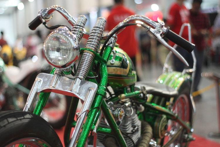 Close-up of motorbike