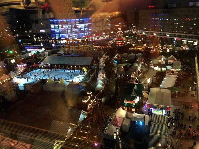 Looking Down Christmas Market Alexanderplatz Weihnachtsmarkt Weihnachten Weihnachtsstimmung My Berlin  Window View Night Lights Christmas Time