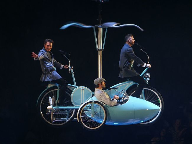 Take That concert, Newcastle, 19/5/15. Take That Concert Celebrities Entertainment Flying High Bikeride GaryBarlow Newcastle Upon Tyne