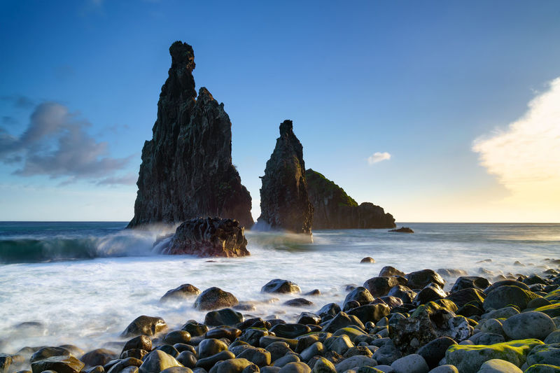 Janela Islets in Porto Moniz in Madeira Madeira Portugal Island Ilha Travel Landscape Nature Mountain Porto Moniz Ribeira Da Janela Islet Rocks Sea Seascape Panorama Panoramic Waves Outdoors Europe European  Portuguese Atlantic Ocean Coastline