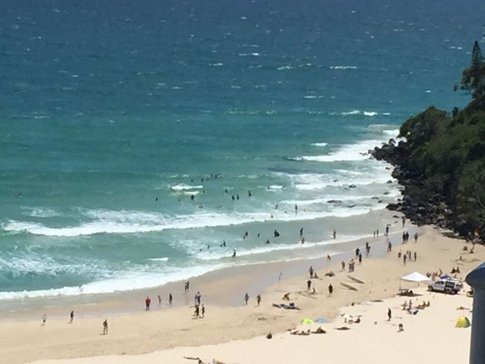 Sea Beach Water Large Group Of People Real People Shore Nature Sand Beauty In Nature Scenics Vacations Coastline Leisure Activity Wave Lifestyles Outdoors Horizon Over Water Summer Tranquility Tranquil Scene Coolangatta