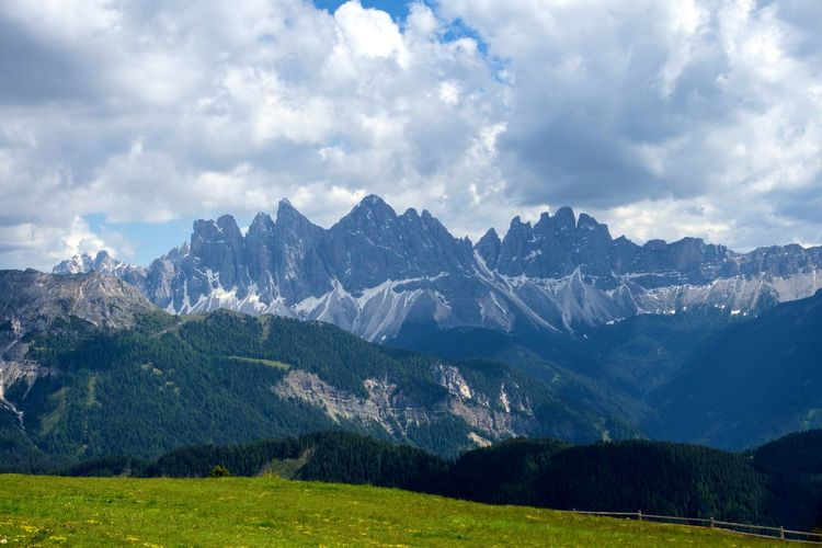 Scenic view of dolomiti mountains against sky