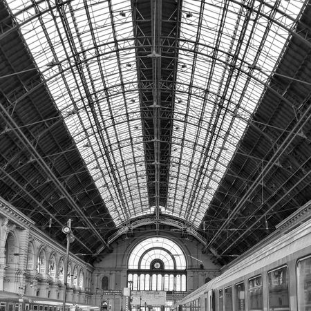 Ceiling Indoors  Low Angle View Roof Built Structure Architecture No People Day HuaweiP9 Architecture City B&w B&w Architecture Blackandwhite Photography Keleti Railway Station Budapest Your Ticket To Europe The Architect - 2018 EyeEm Awards
