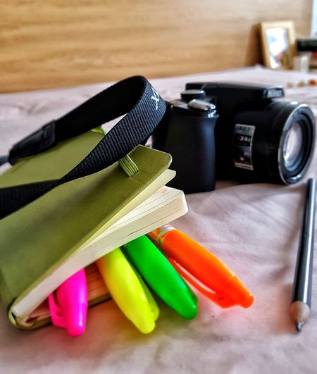 Indoors  Close-up Camera Nikon Nikonphotography Markers  Colour Markers Stationery Notebook Pink Background On The Bed Studying Green Color Book Bedroom Things On A Bed Bedsheet Colours Pencil Composition Indoor Shot Studio Shot