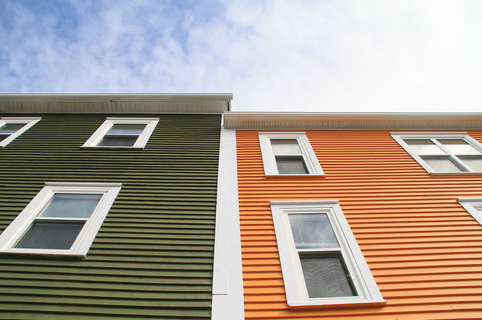Apartment Architecture Blue Building Building Exterior Built Structure Cloud Cloud - Sky Day Façade High Section Low Angle View Newfoundland, Canada No People Outdoors Repetition Residential Building Residential Structure Sky St. John's, NL Window Colour Of Life