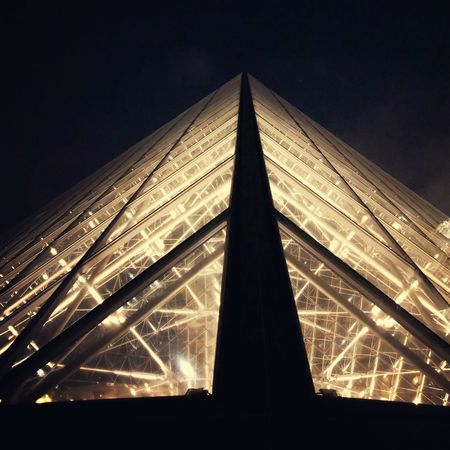 Louvre Paris, France Louvre Night France Paris Built Structure Architecture Night Low Angle View Illuminated Sky No People Pyramid Travel Destinations