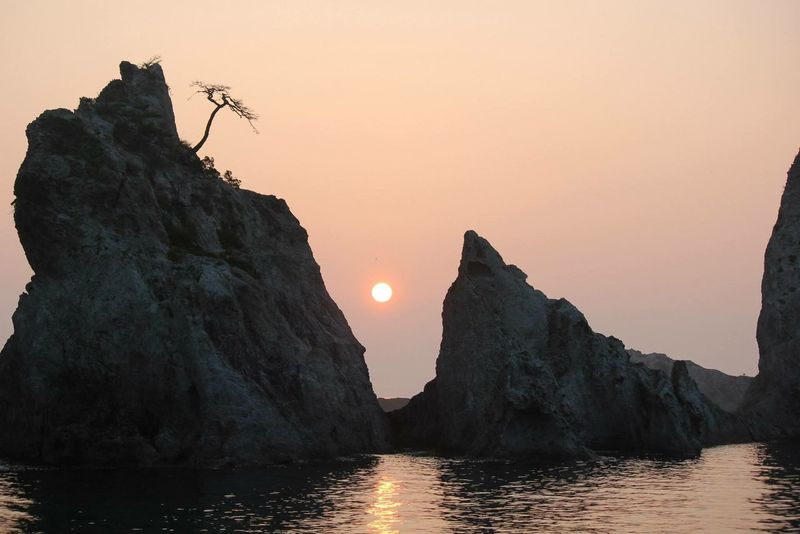 Sunrise from eastern part of the world - Japan. Sunset Sun Beauty In Nature Nature Sky Scenics No People Outdoors Water Tranquility Silhouette Sea Moon Clear Sky Illuminated Mountain Day Astronomy Witnessserenity Witnessgreatness