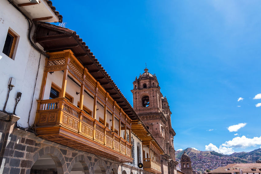 Balconies and the Church of the Society of Jesus on the Plaza de Armas in Cusco, Peru America Andes Architecture Building Capital Cathedral Catholic Christianity Church City Colonial Cusco Cuzco Inca Machu Picchu Mountains Peru Peruvian Plaza De Armas Religion Sky South America Spanish Square Travel