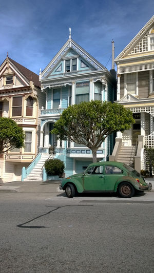 Green Road San Francisco VW Beetle Victorian Architecture Blue Building Exterior Built Structure Car City Hipster Iconic Landmark No People Outdoors Painted Ladies Painted Lady Pretty Retro Car Sky Street Summer Transportation Tree