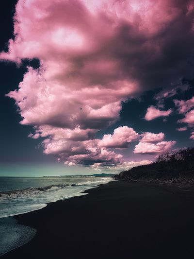 Candyfloss clouds Cecina  Candyfloss Clouds Candy Candyfloss Pink Softness Heaven Clouds Dramatic Sky Dramatic Sea Sunset Beach Water Pink Color Dramatic Sky Sky Horizon Over Water Cloud - Sky Sky Only Meteorology Rosé Atmospheric Mood Power In Nature Magenta Cumulonimbus Infinity