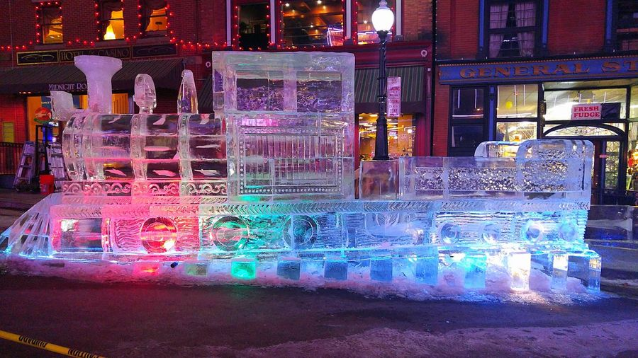 Taking Photos Check This Out Light And Shadow Ice Sculpture Colored Lights Nightphotography Ice Festival Cripple Creek Cold Outside