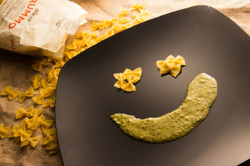 Creativity Food Happy No People Pasta Pesto Pesto Alla Genovese Plate Rummo Smile Still Life StillLifePhotography Yellow Color