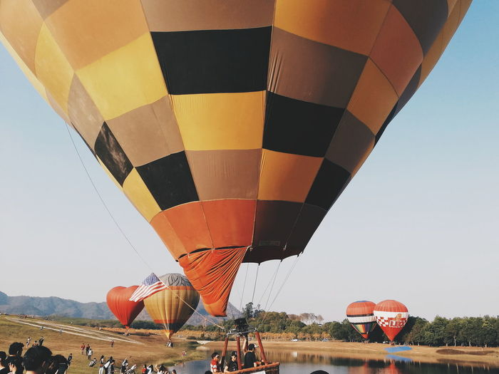 Hot Air Balloon Air Vehicle Adventure Sport Leisure Activity Enjoyment Mid-air Ballooning Festival Day Multi Colored Extreme Sports Outdoors Parachute