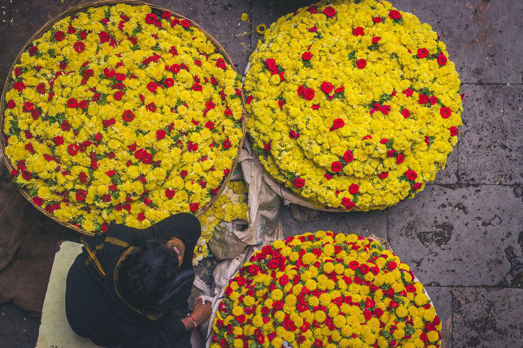 High angle view of yellow flowers for sale at market stall