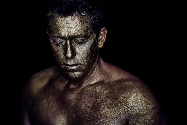 First Eyeem Photo Shirtless Studio Shot One Person Black Background Indoors  Adult Portrait Muscular Build Headshot Front View Strength Mature Adult Chest Males  Looking Serious Athlete Human Body Part Semi-dress Aggression