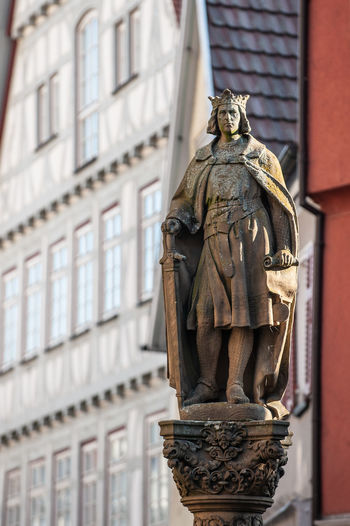 Human Representation Representation Architecture Art And Craft Statue Sculpture The Past History Creativity Building Exterior Built Structure No People Low Angle View Male Likeness Craft Day City Focus On Foreground Religion Marienkirche Reutlingen Kaiser Friedrich II
