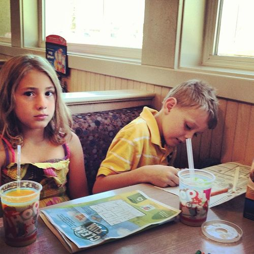 Krista & Blake Littlecousin Littlecousins Krista Blake  ihop coloring tictactoe breakfast brunch kingmanaz kingman