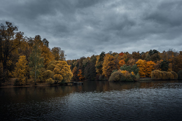 Scenic view of lake against sky during autumn