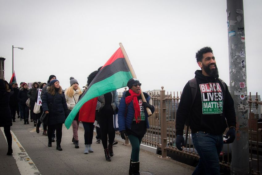 Blacklivesmatter Greater New York March on Trump Tower... Large Group Of People City Brooklyn Bridge  Flag Outdoors Young Adult Day Protest March Blacklivesmatter Social Issues Banner - Sign Cold Temperature Photojournalism New York City Winter Issa Khari NYC