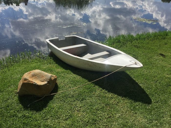 Iphonography IPhone Reflection Water High Angle View Day Nautical Vessel Outdoors No People Grass Sunlight Green Color Moored Nature Shadow